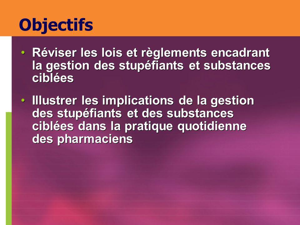 Objectifs Réviser les lois et règlements encadrant la gestion des stupéfiants et substances ciblées Illustrer les implications de la gestion des stupé