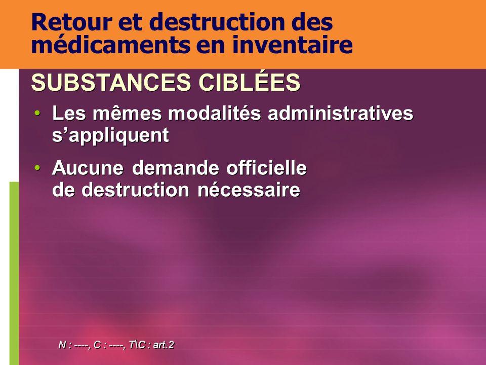 Les mêmes modalités administratives sappliquent Aucune demande officielle de destruction nécessaire Les mêmes modalités administratives sappliquent Au