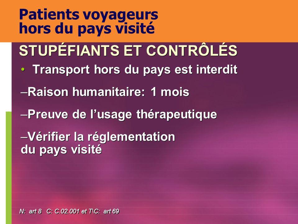 Transport hors du pays est interdit –Raison humanitaire: 1 mois –Preuve de lusage thérapeutique –Vérifier la réglementation du pays visité Transport h