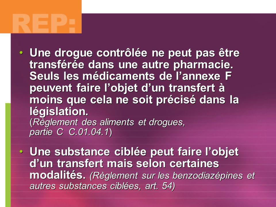 Une drogue contrôlée ne peut pas être transférée dans une autre pharmacie. Seuls les médicaments de lannexe F peuvent faire lobjet dun transfert à moi