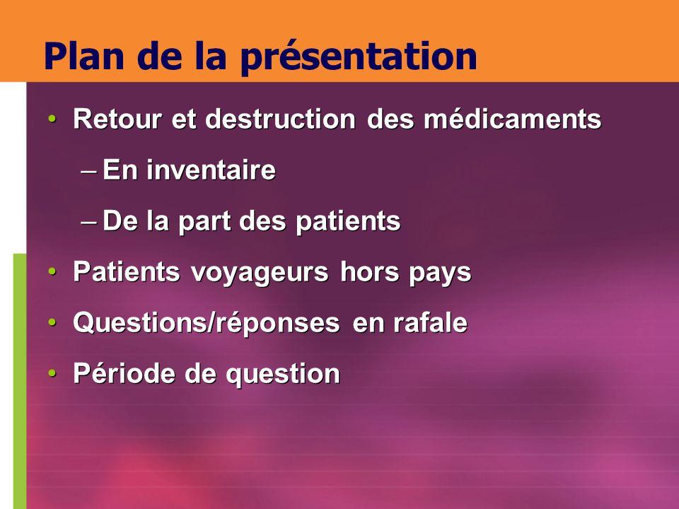 Plan de la présentation Retour et destruction des médicaments –En inventaire –De la part des patients Patients voyageurs hors pays Questions/réponses
