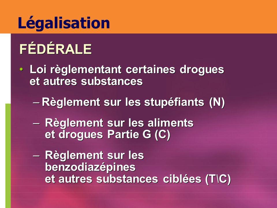 Légalisation Loi règlementant certaines drogues et autres substances –Règlement sur les stupéfiants (N) – Règlement sur les aliments et drogues Partie