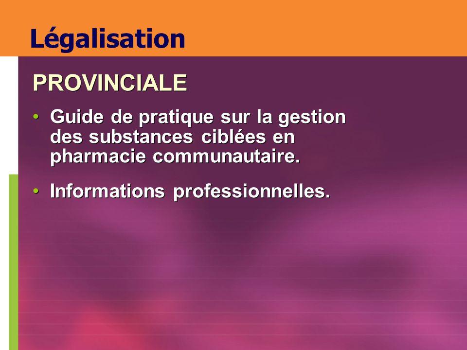 Guide de pratique sur la gestion des substances ciblées en pharmacie communautaire. Informations professionnelles. Guide de pratique sur la gestion de