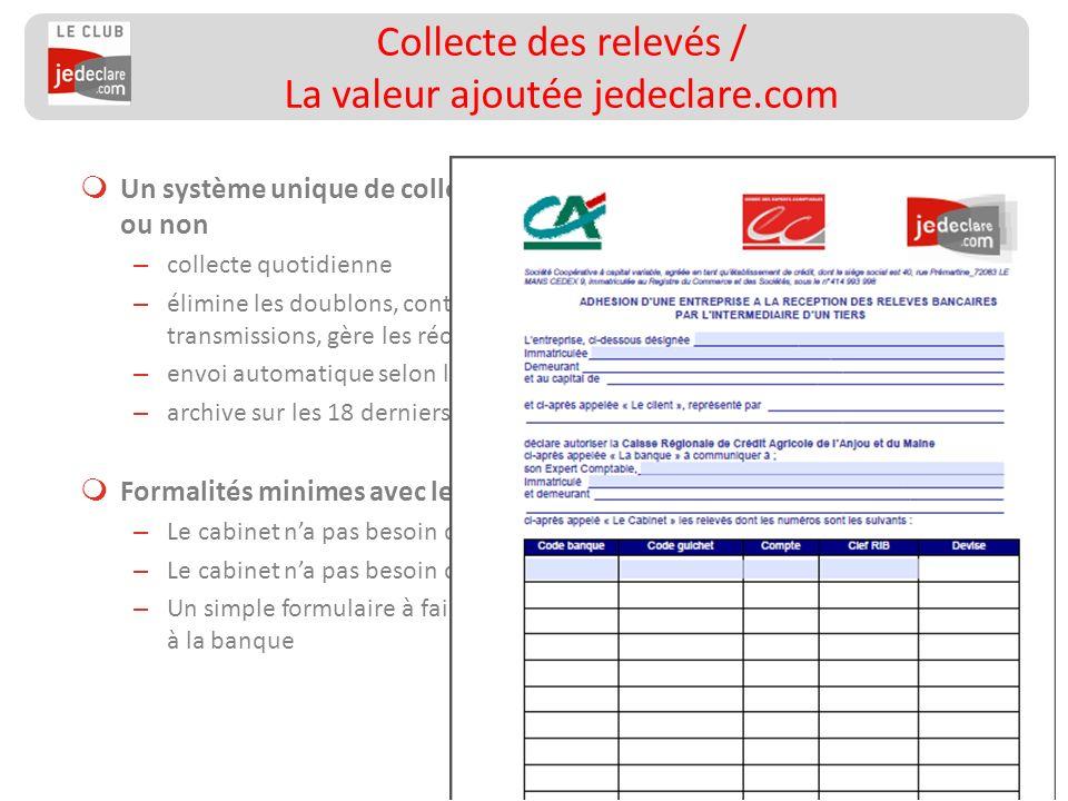119 Un système unique de collecte quelle que soit la banque, partenaire ou non – collecte quotidienne – élimine les doublons, contrôle la séquentialit