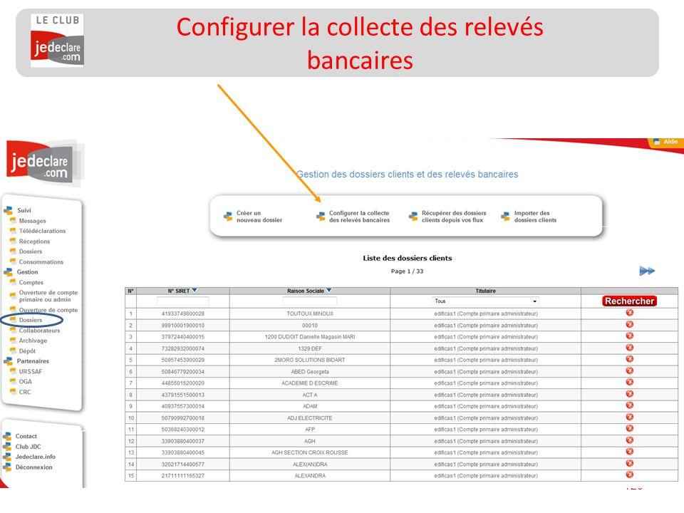 120 Configurer la collecte des relevés bancaires