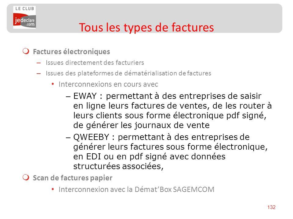 132 Factures électroniques – Issues directement des facturiers – Issues des plateformes de dématérialisation de factures Interconnexions en cours avec