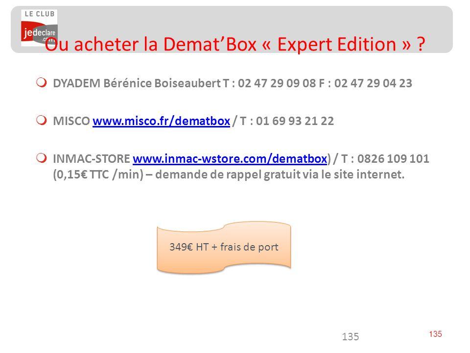 135 DYADEM Bérénice Boiseaubert T : 02 47 29 09 08 F : 02 47 29 04 23 MISCO www.misco.fr/dematbox / T : 01 69 93 21 22www.misco.fr/dematbox INMAC-STOR