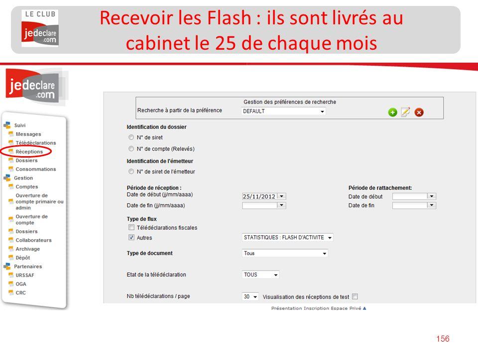 156 Recevoir les Flash : ils sont livrés au cabinet le 25 de chaque mois