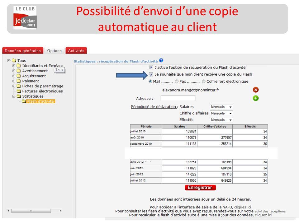 157 __________________ Possibilité denvoi dune copie automatique au client