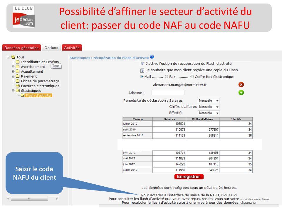 160 __________________ Possibilité daffiner le secteur dactivité du client: passer du code NAF au code NAFU Saisir le code NAFU du client