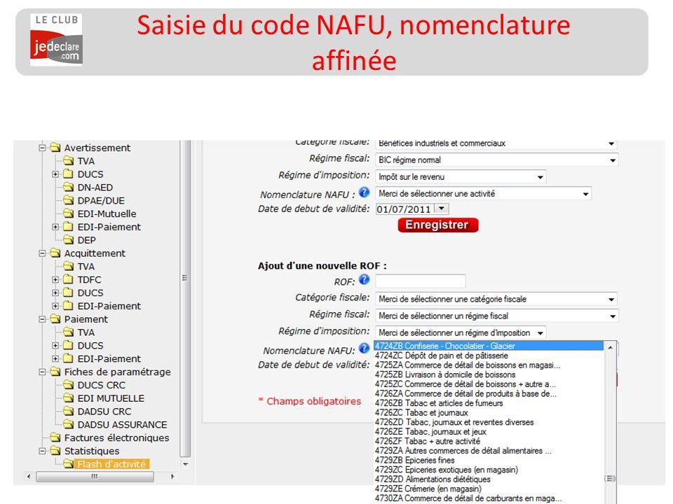 161 Saisie du code NAFU, nomenclature affinée
