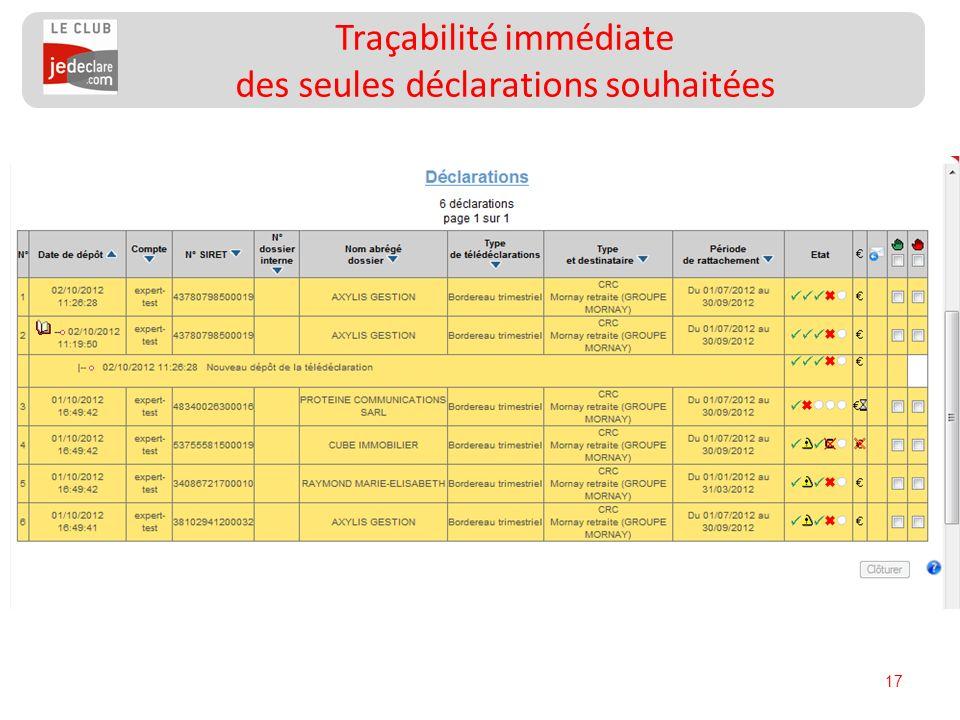 17 Traçabilité immédiate des seules déclarations souhaitées