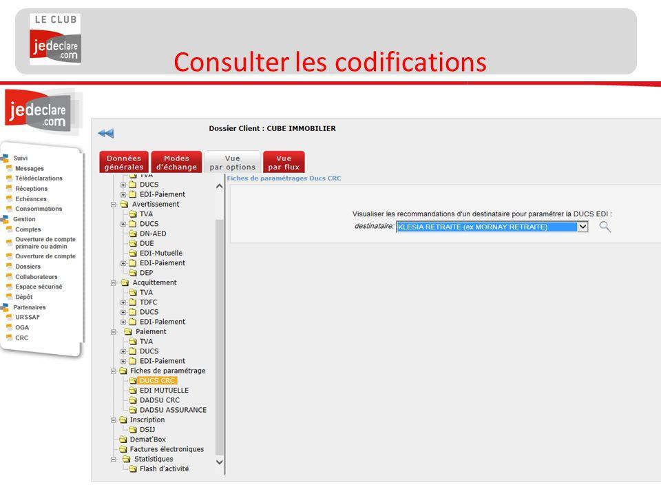 21 Consulter les codifications