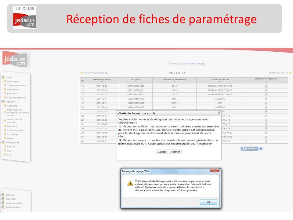 23 Réception de fiches de paramétrage