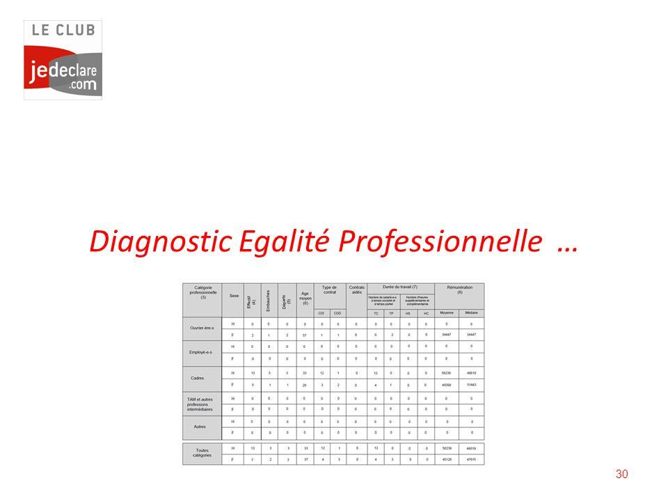 30 Diagnostic Egalité Professionnelle …
