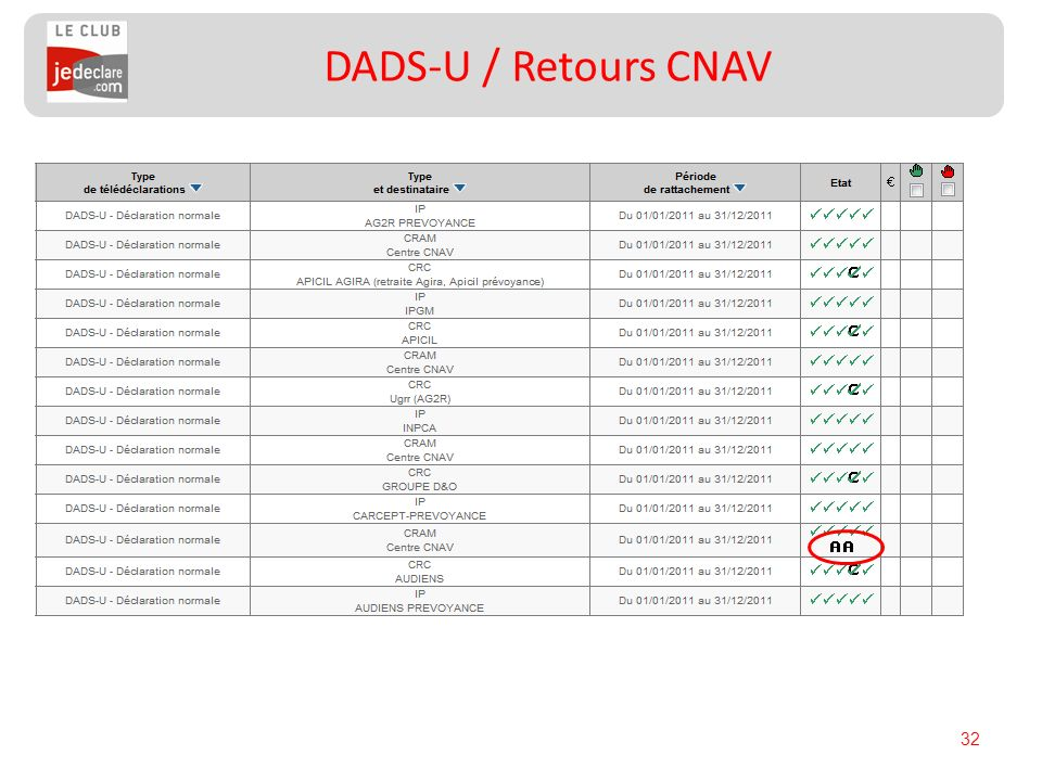 32 DADS-U / Retours CNAV