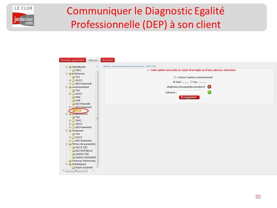33 Communiquer le Diagnostic Egalité Professionnelle (DEP) à son client