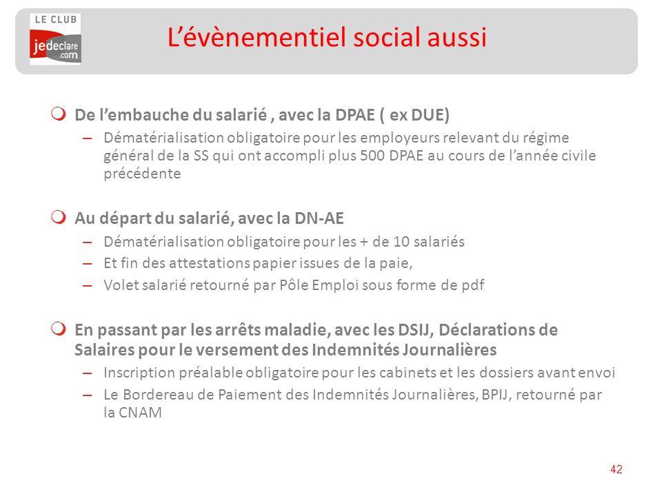 42 De lembauche du salarié, avec la DPAE ( ex DUE) – Dématérialisation obligatoire pour les employeurs relevant du régime général de la SS qui ont acc