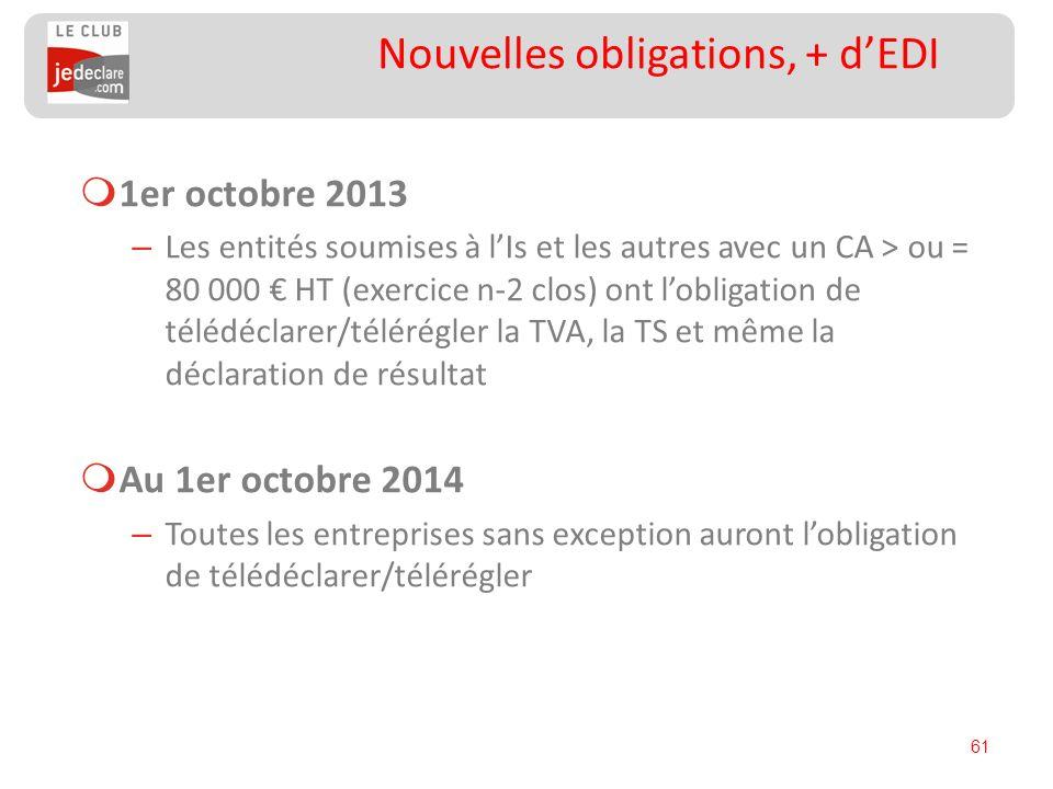 61 Nouvelles obligations, + dEDI 1er octobre 2013 – Les entités soumises à lIs et les autres avec un CA > ou = 80 000 HT (exercice n-2 clos) ont lobli