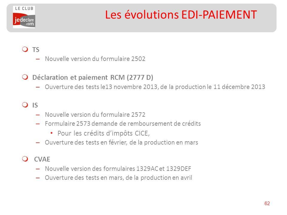 62 Les évolutions EDI-PAIEMENT TS – Nouvelle version du formulaire 2502 Déclaration et paiement RCM (2777 D) – Ouverture des tests le13 novembre 2013,