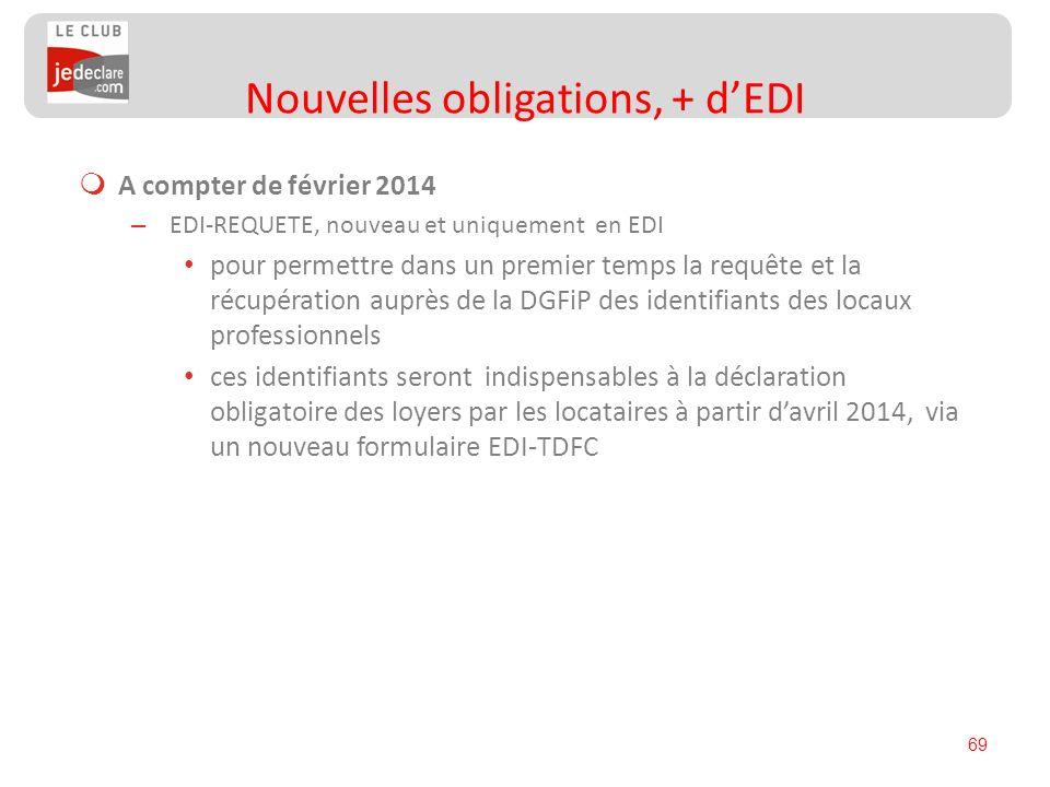 69 A compter de février 2014 – EDI-REQUETE, nouveau et uniquement en EDI pour permettre dans un premier temps la requête et la récupération auprès de