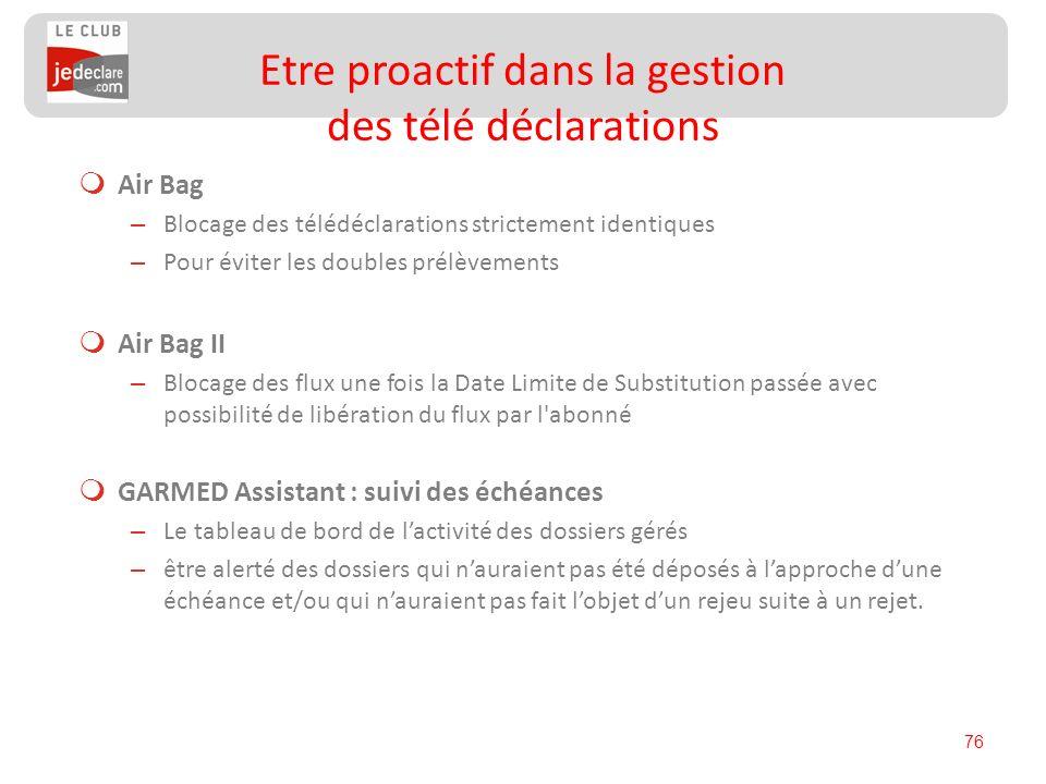 76 Air Bag – Blocage des télédéclarations strictement identiques – Pour éviter les doubles prélèvements Air Bag II – Blocage des flux une fois la Date