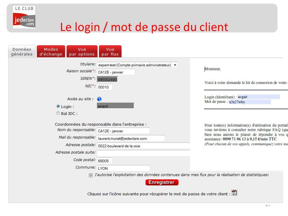 91 Le login / mot de passe du client