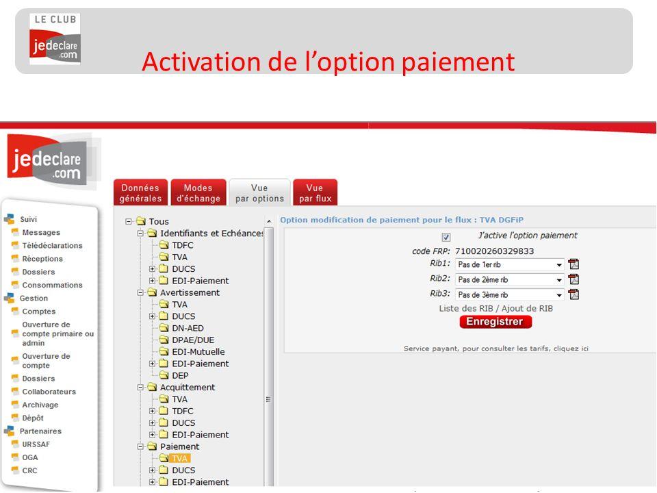92 Activation de loption paiement