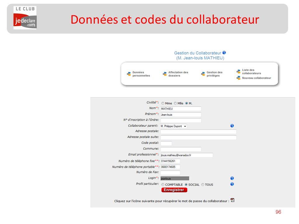 96 Données et codes du collaborateur