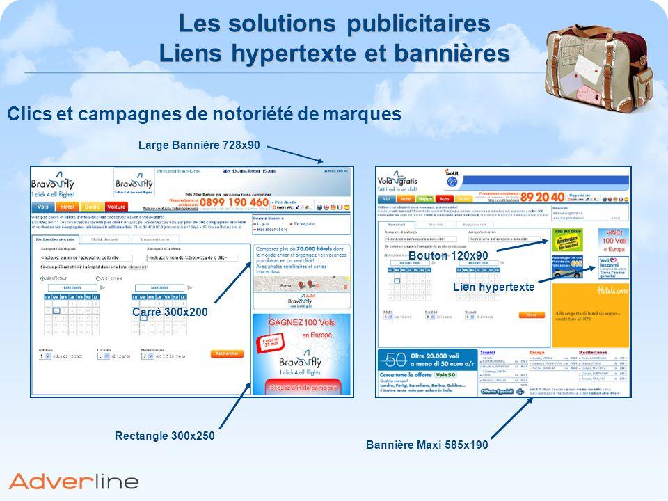 Clics et campagnes de notoriété de marques Les solutions publicitaires Liens hypertexte et bannières Large Bannière 728x90 Carré 300x200 Rectangle 300