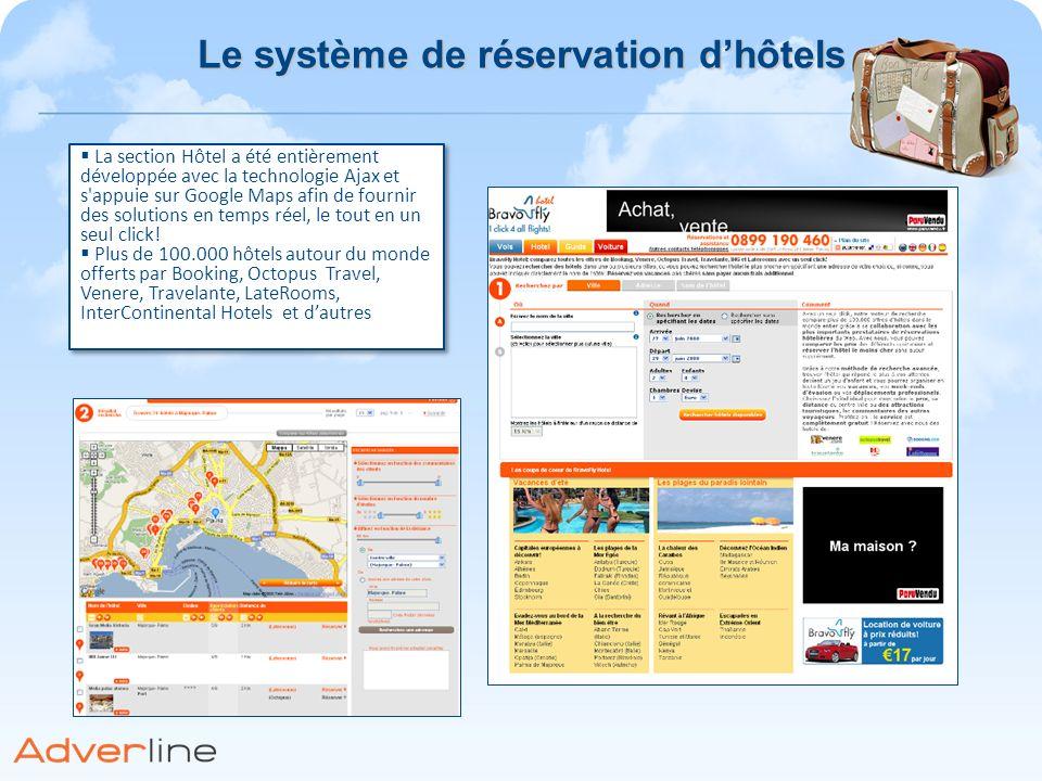 La section Hôtel a été entièrement développée avec la technologie Ajax et s'appuie sur Google Maps afin de fournir des solutions en temps réel, le tou