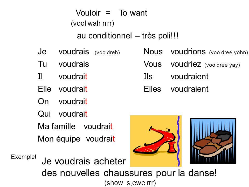 Vouloir = (vool wah rrrr) To want au conditionnel – très poli!!.