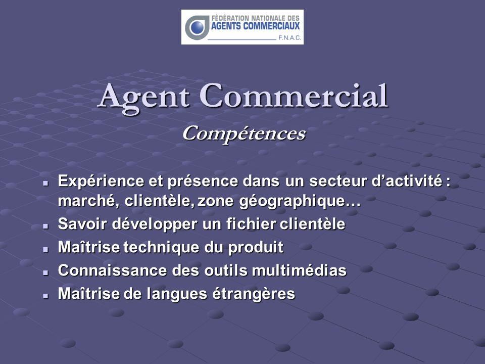 Agent Commercial Compétences Expérience et présence dans un secteur dactivité : marché, clientèle, zone géographique… Expérience et présence dans un s