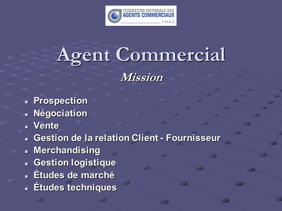 Agent Commercial Mission Prospection Prospection Négociation Négociation Vente Vente Gestion de la relation Client - Fournisseur Gestion de la relatio