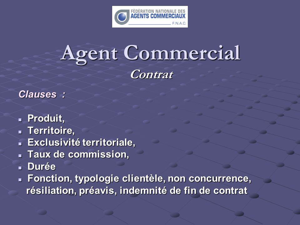 Agent Commercial Contrat Clauses : Produit, Produit, Territoire, Territoire, Exclusivité territoriale, Exclusivité territoriale, Taux de commission, T