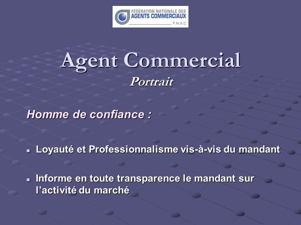 Agent Commercial Portrait Homme de confiance : Loyauté et Professionnalisme vis-à-vis du mandant Loyauté et Professionnalisme vis-à-vis du mandant Inf