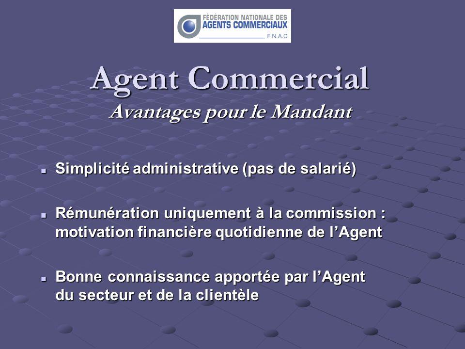 Agent Commercial Avantages pour le Mandant Simplicité administrative (pas de salarié) Simplicité administrative (pas de salarié) Rémunération uniqueme