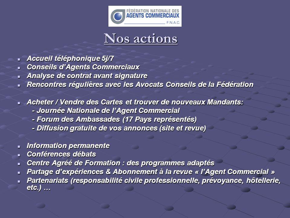 Nos actions Accueil téléphonique 5j/7 Accueil téléphonique 5j/7 Conseils dAgents Commerciaux Conseils dAgents Commerciaux Analyse de contrat avant sig