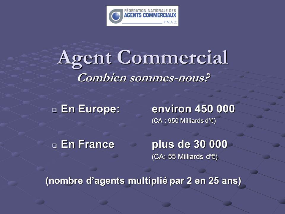 Agent Commercial Combien sommes-nous? En Europe: environ 450 000 En Europe: environ 450 000 (CA : 950 Milliards d) En Franceplus de 30 000 En Francepl