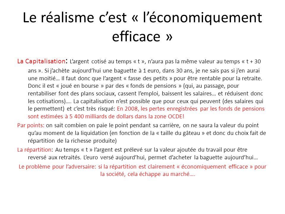 Le réalisme cest « léconomiquement efficace » La Capitalisation : Largent cotisé au temps « t », naura pas la même valeur au temps « t + 30 ans ». Si
