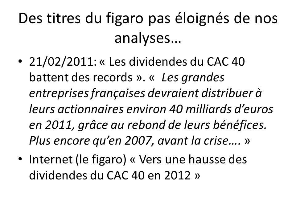 Des titres du figaro pas éloignés de nos analyses… 21/02/2011: « Les dividendes du CAC 40 battent des records ». « Les grandes entreprises françaises