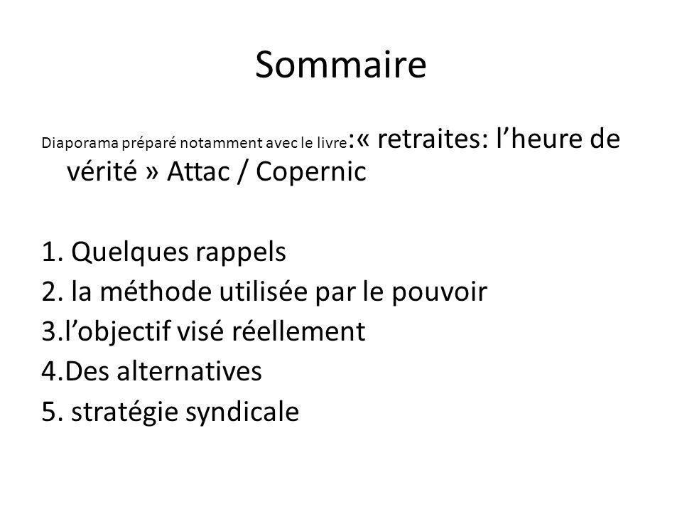 Sommaire Diaporama préparé notamment avec le livre :« retraites: lheure de vérité » Attac / Copernic 1. Quelques rappels 2. la méthode utilisée par le