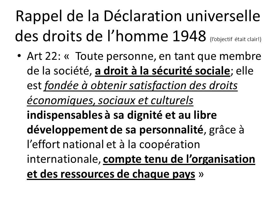 Rappel de la Déclaration universelle des droits de lhomme 1948 (lobjectif était clair!) Art 22: « Toute personne, en tant que membre de la société, a