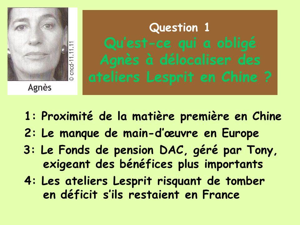 Question 1 Quest-ce qui a obligé Agnès à délocaliser des ateliers Lesprit en Chine .