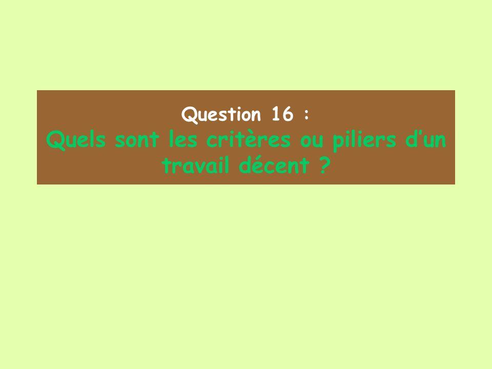 Question 16 : Quels sont les critères ou piliers dun travail décent ?