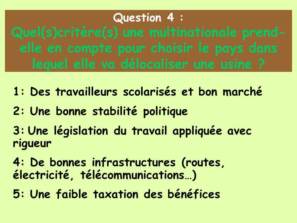 Question 4 : Quel(s)critère(s) une multinationale prend- elle en compte pour choisir le pays dans lequel elle va délocaliser une usine ? 1: Des travai