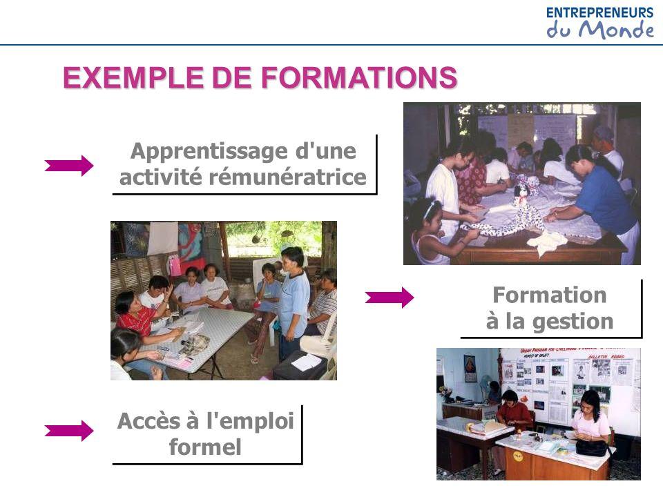Apprentissage d'une activité rémunératrice Formation à la gestion Accès à l'emploi formel EXEMPLE DE FORMATIONS