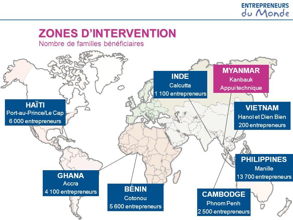 PHILIPPINES Manille 13 700 entrepreneurs GHANA Accra 4 100 entrepreneurs BÉNIN Cotonou 5 600 entrepreneurs ZONES DINTERVENTION ZONES DINTERVENTION Nom