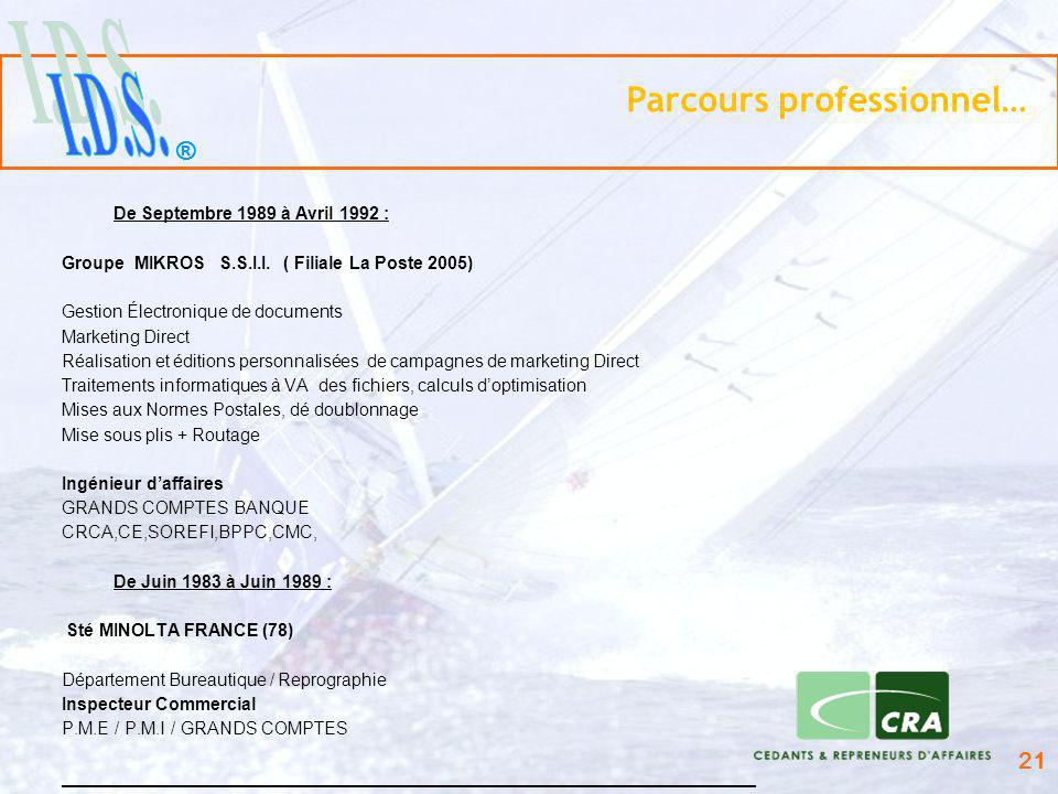 ® 21 Parcours professionnel… De Septembre 1989 à Avril 1992 : Groupe MIKROS S.S.I.I. ( Filiale La Poste 2005) Gestion Électronique de documents Market