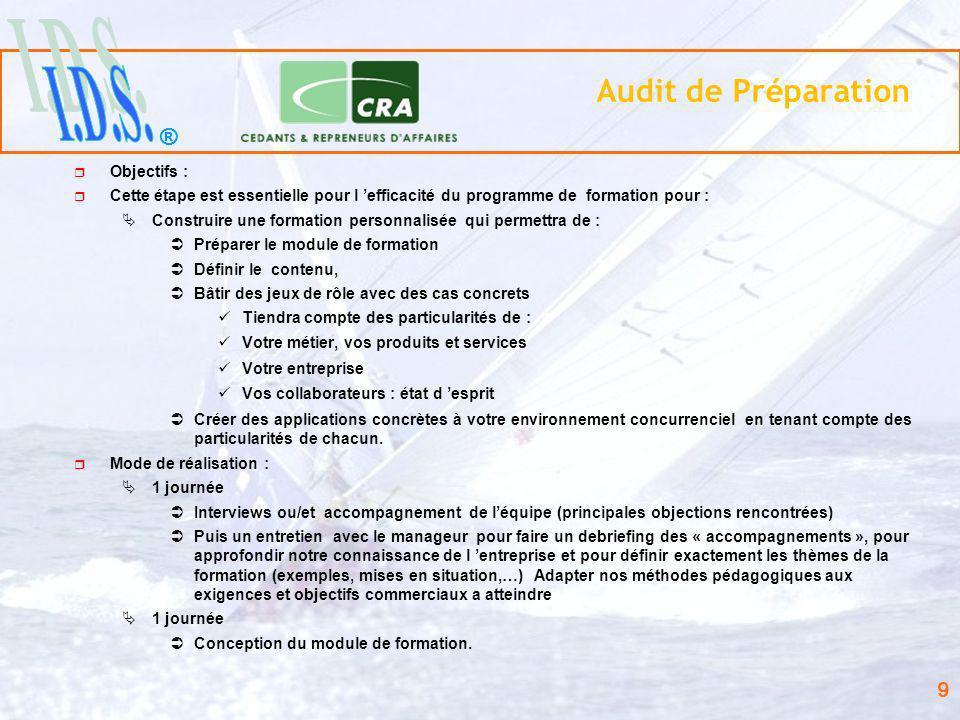 ® 9 Audit de Préparation Objectifs : Cette étape est essentielle pour l efficacité du programme de formation pour : Construire une formation personnal
